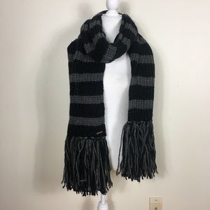 Michael Kors Grey and Black Striped Winter Scarf